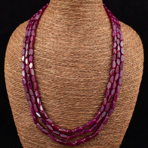 Exclusive 265.00 Cts Earth Mined 3 Strand Red Ruby Beads Necklace JK 20E165