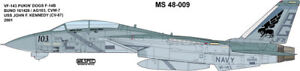 MILSPEC DECAL, MS 48-009, 1/48 SCALE, F-14B TOMCAT, VF-143 PUKIN' DOGS