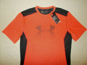 NWT UNDER ARMOUR SHORT SLEEVE BLACK & ORANGE FITTED SHIRT MENS MEDIUM RETAIL $34