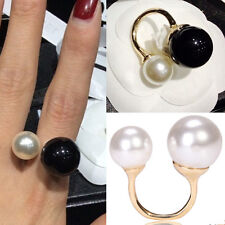 Chic Women Vogue Jewelry Pearl Rings Statement Rolling Rings Beads Double Rings