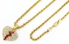 """w 24"""" 4mm Rope Chain xxxtentacion Kc7519 14K Gold Pt Iced Broken Heart Pendant"""