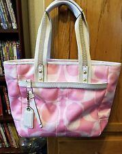 Coach Scribble Hampton's Tote Signature Pink Canvas Handbag Purse Large