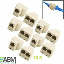 10 X RJ45 Network Cable 2 Way Double Adapter 3 Port Ethernet Y joiner Coupler