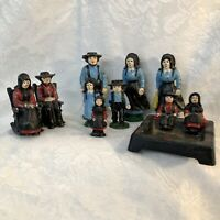 Cast Iron Amish Family Figurines 11 misc figures Ashtray Salt and Pepper