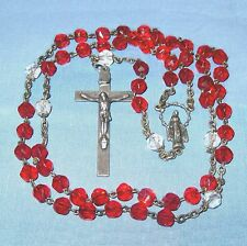 """Rosary red & clear crystal 6mm glass beads vintage 19"""" dja"""