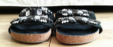 Black embellished double-strap footbed sandal by New Look. Size 5/38.