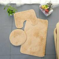 3PCS Bath Mat Set Bathroom Shaggy Rug Water Absorption Anti Slip Home Carpet KI