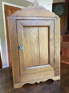 """Antique Primitive Country Pine Hanging 2-Shelf Wall Cupboard 15.5"""" x 24.5"""" x 10"""""""