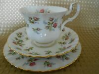 "ROYAL ALBERT "" WINSOME"" ENGLISH BONE CHINA TEA SET TRIO 1966 PINK ROSES EX COND"