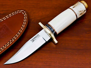 HAND FORGED STANILESS STEEL HUNTING KNIFE-CAMEL BONE-STAG ANTLER HANDLE-AS-1847