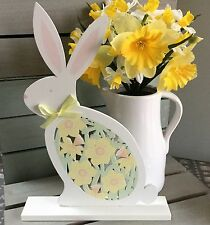 Wooden Fretwork Easter Bunny Gisela Graham Daffodil Garden Rabbit Decoration