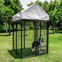 "48""x48""x82"" Tall Heavy Duty Outdoor Dog Kennel Cage with Anti-UV Cover Shelter"