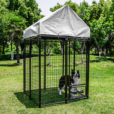 4'x4'x6.8' Tall Heavy Duty Outdoor Dog Kennel Cage with Anti-UV Cover Shelter
