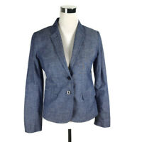 J.Crew Size 4 Schoolboy Blazer in chambray Womens blue denim Jacket 100% Cotton