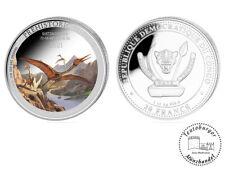 Kongo 20 Francs 2021 FARBIG COLOR Quetzalcoatlus (6.) 1 oz 999 AG Dinosaurier