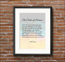 Home decor, WB Yeats, quotation, Cloths of Heaven, art print poster, A4, A3