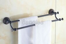 Black Oil Rubbed Brass Wall Mounted Bathroom Dual Bar Towel Holders Rack 8ba462