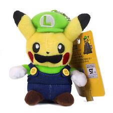 Pokemon Center Pikachu Luigi Plush Toy Super Mario Cosplay Stuffed Doll 4.5 inch