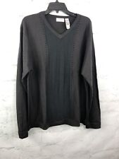Concepts by Claiborne Sweater Mens Large L ribbed brown v-neck