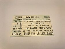 RARE HOWARD STERN TICKET STUB 2/13/86 AT THE RITZ IN NEW YORK CITY