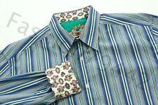 ROBERT GRAHAM Shirt Mens XL Blue Green Stripe Embroidery Trim Seahawk Color Gift
