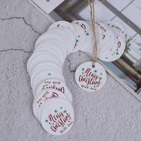 100PCS Letter Merry Christmas Kraft Paper Gift Tags with Jute Twine DIY Cra I2