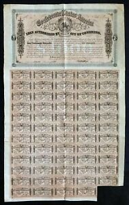 1864 CSA Confederate States of America, $1000 Civil War Bond with 59 Coupons