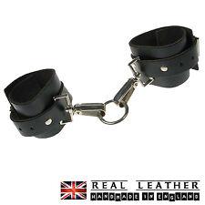 BLACK Wrap ROUND Fetish manette 100% Vera Pelle Made in England