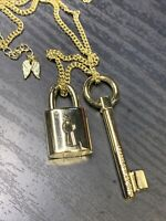 Vintage Victorias Secret Lock And Key Pendant necklace Gold Chain 38""