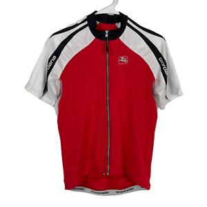 Giordana Large Cycling Jersey Bib Short Sleeve Full Zip L-4-50 Red White Pockets