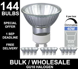 144x GU10 40W 50W MAINS 240V HALOGEN LAMP LIGHT BULB BULK BUY 144 BULBS