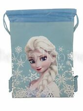 DISNEY Frozen Elsa DRAWSTRING STRING BACKPACK SCHOOL SPORT GYM TOTE BAG Blue!