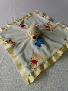 Disney Baby Winnie the Pooh Blanket Green Yellow Satin Trim Security Lovey