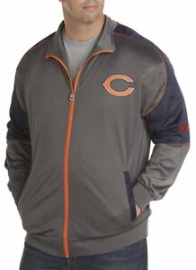 Chicago Bears NFL Mens Full Zip Tricot Charcoal Track Jacket Size 4XT
