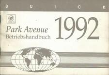 GM BUICK PARK AVENUE Betriebsanleitung 1992 Bedienungsanleitung Bordbuch BA