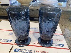 PRINCESS HOUSE SET OF 2 COBALT BLUE FANTASIA PATTERN ICE TEA GOBLETS