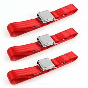 Camaro 1993 - 2002 Airplane 2pt Red Lap Bench Seat Belt Kit - 3 Belts  saftboy