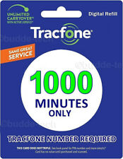 TracFone 1000 Minutes ADD ON Service Card Prepaid Digital Refill Card Smartphone