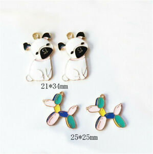 2/10Pcs Colorful Cute Alloy Bulldog Balloon Dog Charms Pendant Jewelry Necklace