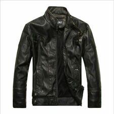 Fashion Men's leather Motorcycle Coats Jackets Washed Leather Coat black size S3