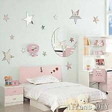 3D Mirror moon& stars Decal Wall Sticker DIY Removable Art Mural Home Room Decor