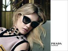 PRADA CINEMA EVOLUTION Cat Eye Black Gradient Gold Sunglasses SPR 53S 1AB-0A7