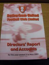 31/05/2001 Rotherham United Football Club: directores informe y cuentas para el