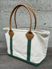 Vintage LL Bean Boat And Tote Bag Leather Handle Green White Made In USA Clean!