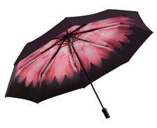 Umbrella Compact Folding Women Pink Flower Print Inside & Black Sun Block Canopy