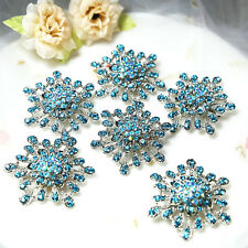 Wholesale 10x BLUE Crystal Rhinestone Brooches Pins Bridal Wedding Bouquet Decor