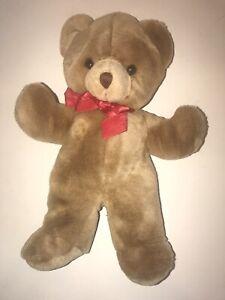 "Vintage RUSS CINNAMON 14"" Tan Brown Stuffed Plush Teddy BEAR Red Bow"
