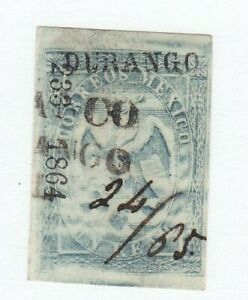 Mexico 22a Period 3 Consignment 233-1865 Durango with Manuscript Date
