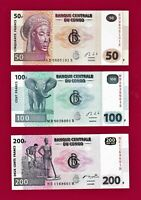 Set of THREE 2013 CONGO NOTES: 50 Francs (P-97), 100 Fr (P-98) & 200 Fr (P-99)