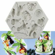 3D Animal Silicone Fondant Moule Gâteau Éléphant Girafe Singe têtes Baking Mold